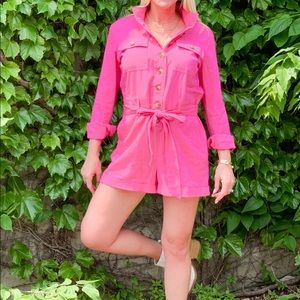 Pink utility romper from Express
